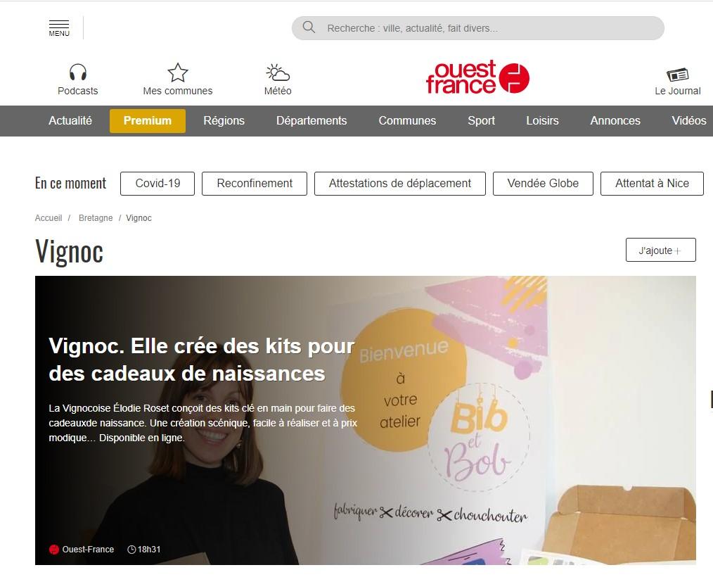 ouest france rennes creation entreprise vignoc